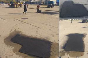 В самом центре Сум бетонные плиты залатали асфальтом
